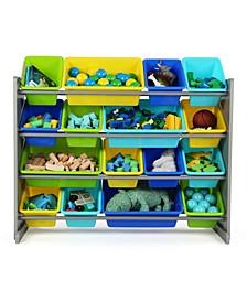 Kids Wood Super-Sized Toy Organizer with 16 Plastic Bins