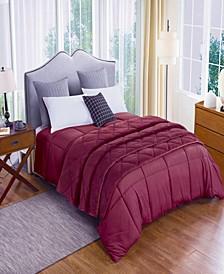 2pc Velvet Blanket and Down Alternative Comforter Set Full/Queen in Tawny Port