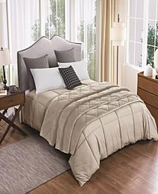 2pc Velvet Blanket and Down Alternative Comforter Set Full/Queen in Tan