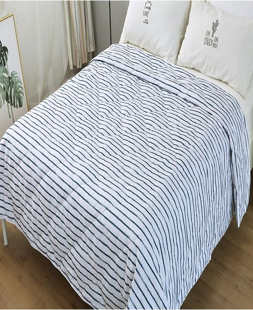 St. James Home Soft Cover Nano Feather Filled Blanket Full/Queen stripe