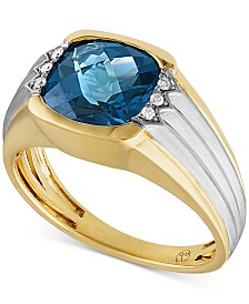 Men's London Blue Topaz (4-1/4 ct. t.w.) & Diamond Accent Ring in 10k Gold & Rhodium-Plate