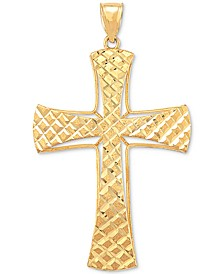 Men's Textured Cross Pendant in 10k Gold