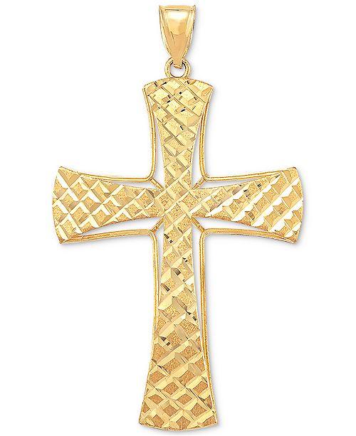 Macy's Men's Textured Cross Pendant in 10k Gold