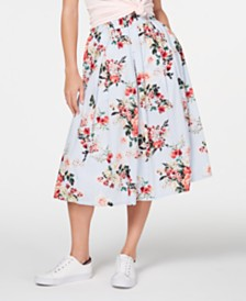 Tommy Hilfiger Cotton Mixed-Print Midi Skirt, Created for Macy's