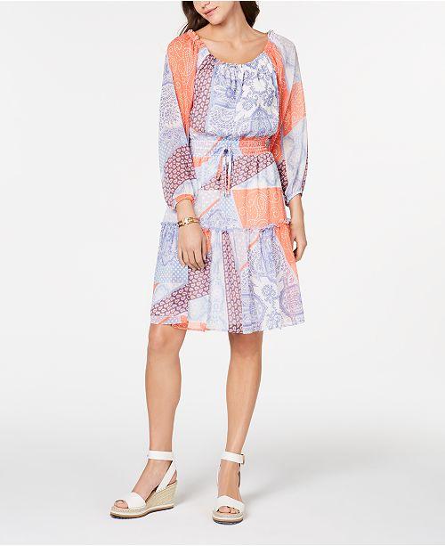 Tommy Hilfiger Patchwork-Print Ruffled Dress