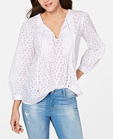 Pleated Burnout-Dot Top, Created for Macy's