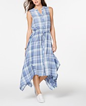 961e147317f Tommy Hilfiger Plaid Handkerchief-Hem Shirtdress