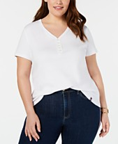 0550178b2 Tommy Hilfiger Plus Size Lace-Trim V-Neck T-Shirt, Created for