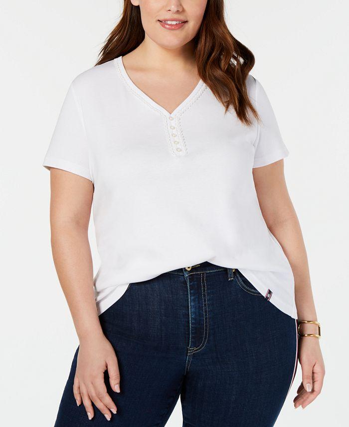 Tommy Hilfiger - Plus Size Lace-Trim V-Neck T-Shirt