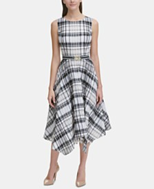 Tommy Hilfiger Belted Plaid Midi Dress