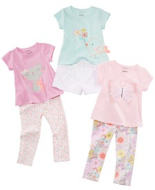 First Impressions Baby Girls Animal T-Shirts, Shorts & Printed Leggings Separates, Created for Macy's