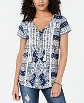 cae5b8fdd67 Style   Co Mixed-Print Crochet-Trim Top