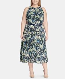 Tommy Hilfiger Plus Size Madeline Floral Chiffon Midi Dress