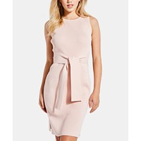 GUESS Rib-Knit Tie-Front Bodycon Dress (Cosmetic Rose)