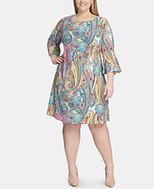 Plus Size Jaipur-Paisley Bell-Sleeve Dress