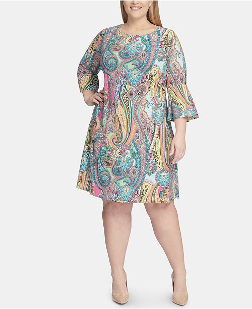 Tommy Hilfiger Plus Size Jaipur Paisley Bell Sleeve Dress