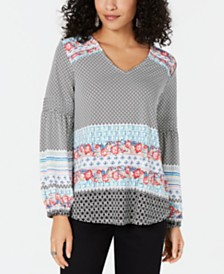 Style & Co Mixed-Print Bishop-Sleeve Top, Created for Macy's