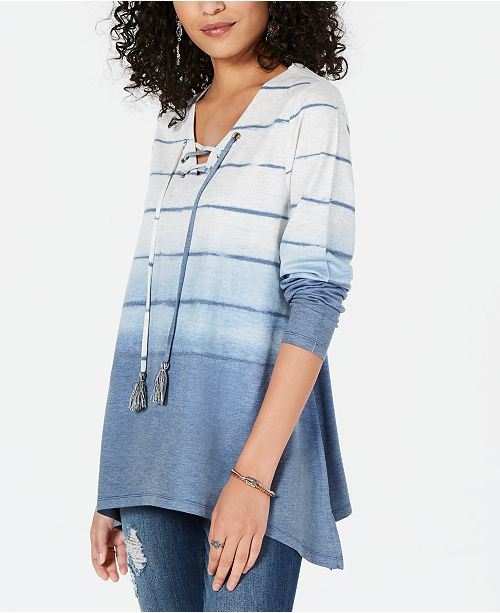 Style & Co Striped Lace-Up Top, Created for Macy's