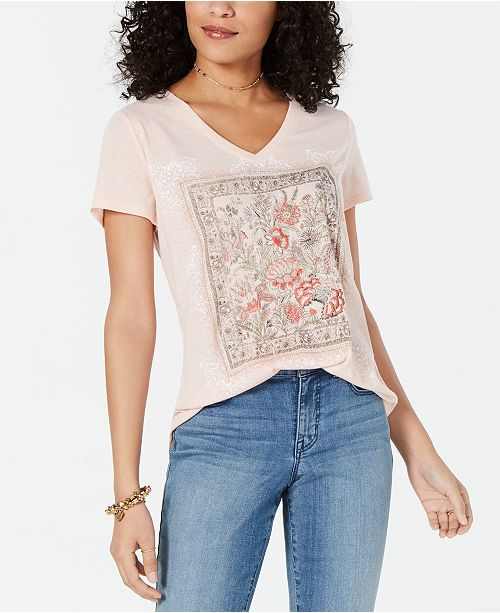 Style & Co V-Neck Graphic T-Shirt, Created for Macy's