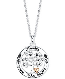 """Unwritten Tree of Life 18"""" Pendant Necklace in Sterling Silver & Rose Gold Flash-Plate"""