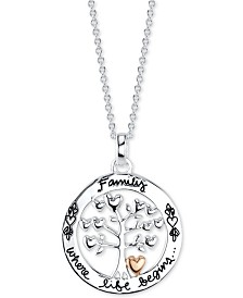 "Unwritten Family Tree 18"" Pendant Necklace in Sterling Silver & Rose Gold Flash-Plate"