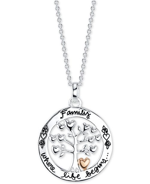 """Unwritten Family Tree 18"""" Pendant Necklace in Sterling Silver & Rose Gold Flash-Plate"""
