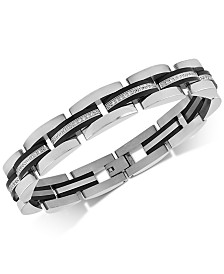 Esquire Men's Jewelry Diamond Link Bracelet (1/2 ct. t.w.) in Stainless Steel & Black Ion-Plate, Created for Macy's