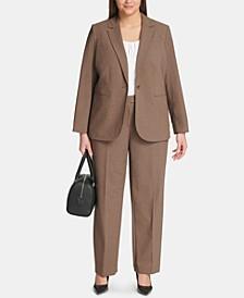 Plus Size One-Button Jacket & Straight-Leg Pants