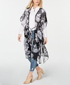 Betsey Johnson Watercolor Flower-Print Drawstring Kimono Scarf