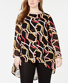 Alfani Plus Size Printed Overlay Tunic, Created for Macy's