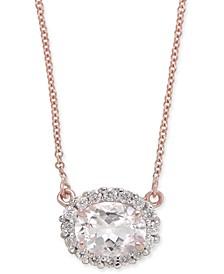 "Morganite (1-1/4 ct. t.w.) & Diamond (1/4 ct. t.w.) 18"" Pendant Necklace in 14k Rose Gold"