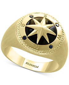 EFFY® Men's Black Sapphire (1/4 ct. t.w.) & Onyx Compass Statement Ring in 14k Gold