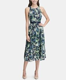 Tommy Hilfiger Petite Belted Floral Chiffon Midi Dress