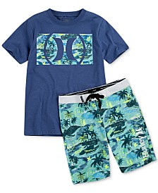 Hurley Big Boys Logo-Print T-Shirt & Doodle Board Shorts Separates