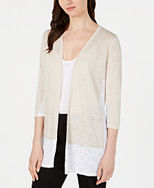 Alfani Colorblocked Open-Front Cardigan, Created for Macy's