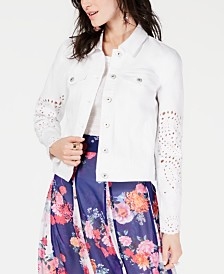 I.N.C. Embroidered Eyelet Denim Jacket, Created for Macy's