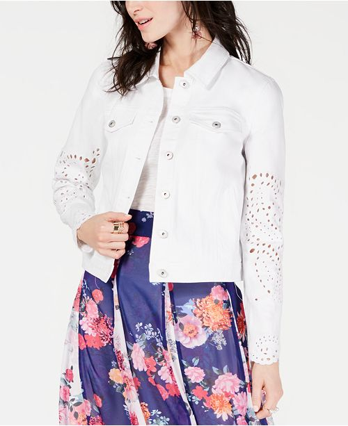 INC International Concepts I.N.C. Embroidered Eyelet Denim Jacket, Created for Macy's