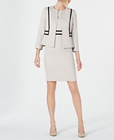 Kasper Piped-Trim Jacket & Sheath Dress