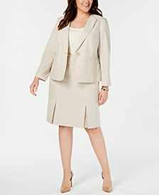 Plus Size Seamed Pleated Skirt Suit