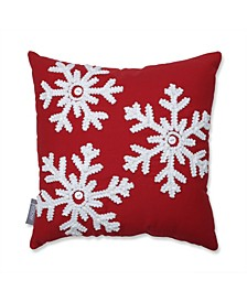"Country Home Snowflakes Red/Biscuit 15.5"" Throw Pillow"