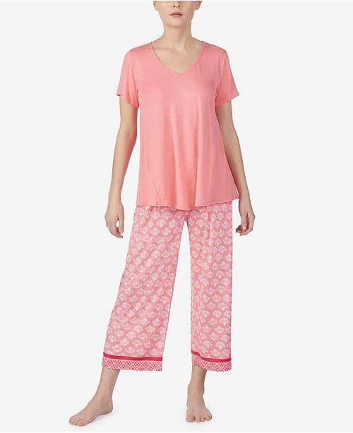 Ellen Tracy Short-Sleeve Shirt and Capri Pajama Pants Set