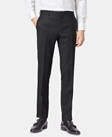 BOSS Men's Ben Micro-Patterned Slim-Fit Wool Trousers