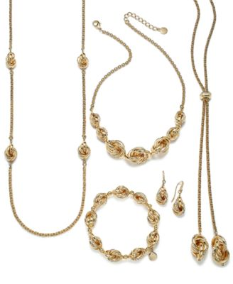 Gold-Tone Pavé Infinity Station Necklace, 42