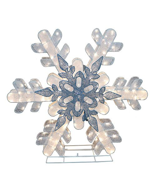 Puleo International Premium 48 in. Fabric Mesh Snowflake with 236 White LED Lights including 47 Twinkling bulbs