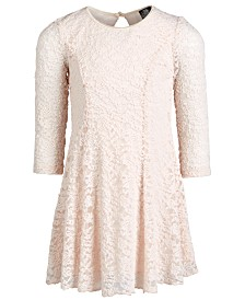 Pink & Violet Little Girls Floral Lace Dress