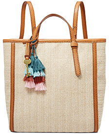 Fossil Camilla Straw Convertible Backpack
