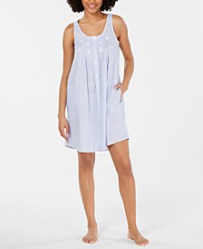 Embroidered Tuck-Front Cotton Nightgown