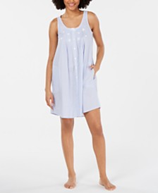 Miss Elaine Embroidered Tuck-Front Cotton Nightgown