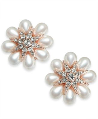 Gold-Tone Crystal & Imitation Pearl Flower Stud Earrings, Created for Macy's