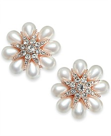 2075af709 Charter Club Gold-Tone Crystal & Imitation Pearl Flower Stud Earrings,  Created for Macy's